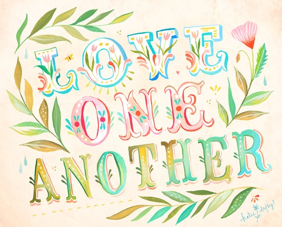 love one another art print inspirational quote wall art