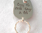"""Magnetic or Pin ID Badge Holder or Reading /Sun Glasses  Holder  """"The Little Things in Life""""  Extra Magnet Affixed"""