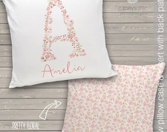 personalized girls pillow - vintage floral letter and name 14 x 14 throw pillow