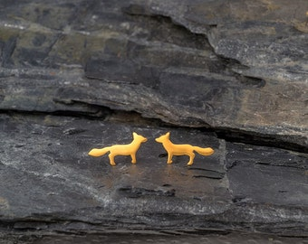 Solid Gold Earrings Fox Earrings Fox Studs in 14k solid Gold Woodland Jewelry Gold minimal studs dainty earrings Valentine gift fall studs
