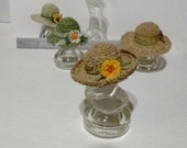 Miniature Crochet Natural Color Garden Sun Hat One Inch Scale