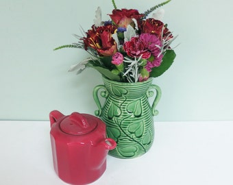 Shawnee Pottery Two-Handled Vase with Philodendron Leaves, #805