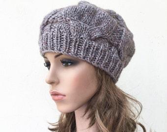 Hand Knit Hat wool Beret Hat Mocha hat
