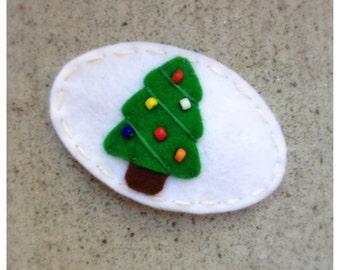 Felt Hair Clip Holiday Tree, Christmas Tree Hair Clip, Girls Hair Clip, Holiday Hair Clip