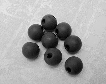 Black Ball Buttons, 12mm 3/8 inch - CHOOSE Matte, Glossy Black Plastic Shank Buttons  8 VTG NOS Chalkboard Black Spherical Buttons PL118