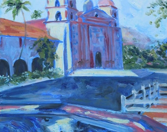 Original Oil on Canvas. Impressionistic Landscape. TITLE Sunny Day in CA, Church Painting. Original painting. Fine Art by AnnaArt72