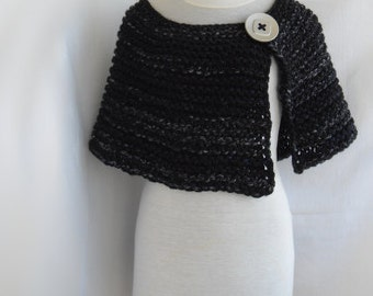 Knitted cape from thick melange black yarn. FREE worldwide SHIPPING