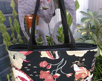 Asian Print Shopping or Record Bag