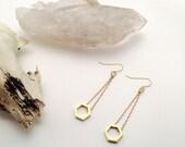 Brass Minimalist Honeycomb Drop Earrings - Simple Geometric Earrings - Brass Dangle Earrings - Brass Hexagon Earrings - Simple Jewelry