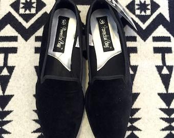 Vintage Loafers Felt Loafer Black Loafer Black Felt Womens Loafers Size 8 Black Slip Ons Black Velvet Loafers Black Velvet Shoes