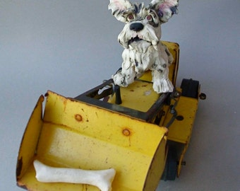 Terrier On Antique Toy Truck Digging for Bones Mixed Media Sculpture