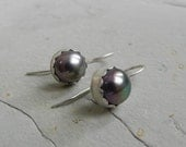 Sterling and Purple Pink Pearl Scallop Edge Earrings~Artisan Metalsmith~Minimalist