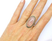 ON SALE* Vintage Rose Quartz crystal ring Sterling Silver Marcasite c1950-1970s English Cocktail, Dress or Dinner ring-Birthday gift