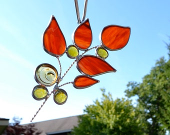 Fall Leaf Branch with Vintage Jewel  Stained Glass Suncatcher