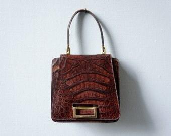 Vintage Kelly Bag, alligator handbag, 60s