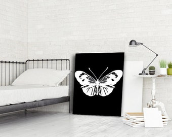 Gift for girlfriend gift for her Butterfly print black white decor butterfly art unique wedding gifts birthday gift for her Teen Room decor