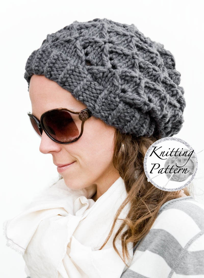 Knitting Pattern for Womens Chunky Hat Bow Tie Bubbles
