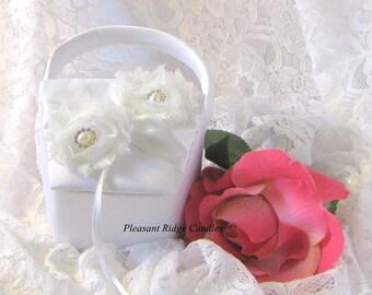 White Flower Girl Basket Ivory Flower Girl Basket Rose Flower Girl Basket Pearl Flower Girl Basket Rose Flower Girl Cheap Flower Girl Basket