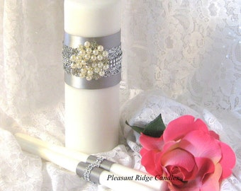 Pearl Unity Candle Set Wedding Candle Rhinestone Unity Candle White Unity Candle Ivory Unity Candle Color & Ribbon Color Choice