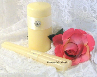 Ivory Unity Candle Set Bling Unity Candle Rhinestone Unity Candle Wedding Candle Ribbon & Candle Color Choice Candle Stand Optional