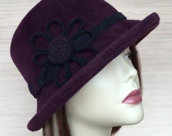 womens felt hat, bordeaux hat, millinery fur felt hat, Cloche hat