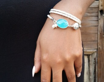 Womens Leather Bracelet / Leather and Gemstone Bracelet / Genuine Leather Wrap Bracelet / Angelina