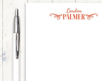 personalized notePAD - DOUBLE SCROLL SCRIPT name - stationery - stationary - letter writing paper - gift for her