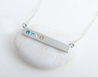 Birthstone Bar Necklace stamped with Blessed.  Count your blessings with this silver birthstone bar necklace.  Perfect Family Necklace!