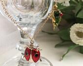 Ladybug Pendant Necklace, Ladybug on Leaf Pendant Necklace, 16-Inch Drop Necklace, Ladybird Necklace
