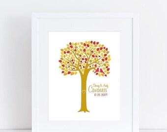Personalized Fall Wedding Tree - 8x10 Print