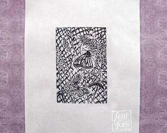 Butterfly Bush Linocut Art Print