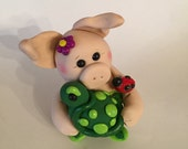 Pig with Turtle - Polymer Clay Pig - Clay Turtle - Gift - Best Friend's Gift - Cake Topper
