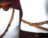 Steampunk Bandolier/ belt Military Browncoat! Awesome brown leather, antique or shiny brass rings. Pirate, Fetish, Ren Faire, burning man