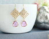 Purple Earrings Lavender Earrings Gold Plated Filigree Oriental Filigree Lilac Earrings, Gold Filigree Chandelier Earrings Bridesmaids Gifts