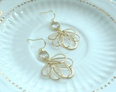 Clear Glass Gold Feathers Earrings, Gold Bridal Wedding Dangle Earrings, Gold Feathers, Bridesmaids Gift. Gold Wedding, Prom, Graduation