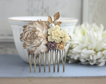 Wedding Hair Comb, Ivory, Gold Flower Leaf Filigree Flower Collage Hair Wedding Comb Bridesmaids Comb, Brown Woodland Country Nature Wedding