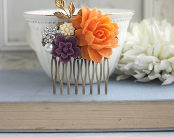Orange, Amethyst, Purple, Ivory, Rhinestone Brass Flower Hair Comb Orange Rose Comb Orange and Purple Wedding Bridesmaid Gifts Wedding Comb