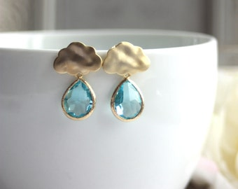 Raindrops Cloud Earrings. Aquamarine Glass Earrings. Sterling Silver Ear Post. For Sister. For Best Friends. Blue Aqua Rain Cloud Earring.