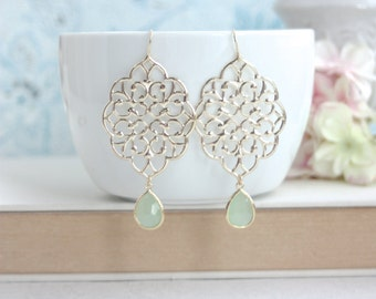 Boho Lace Earrings, Light Mint, Mint Green Earrings, Gold Plated Chandelier Earrings. Mint Wedding. Bridesmaid Gift. Gold and Mint Wedding