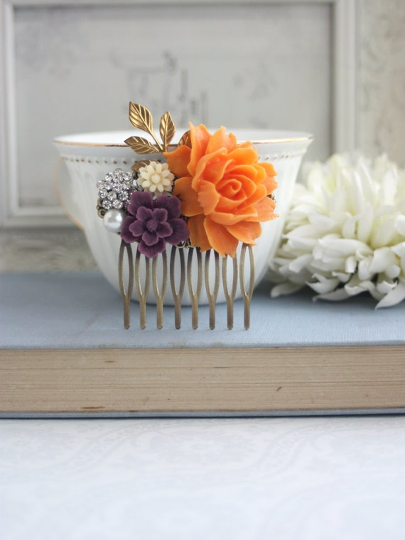 Orange, Amethyst, Purple, Ivory, Rhinestone Brass Flower Hair Comb Orange Rose Comb Orange and Purple Wedding Bridesmaid Gifts Wedding Comb