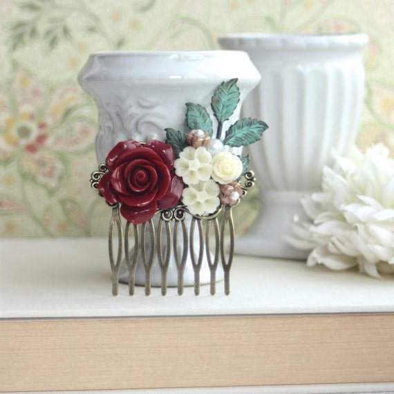 Dark Red Rose Comb, Red Wedding, Vintage Style Flower Hair Comb. Bridesmaid Gift Crimson Garnet Comb, Red Rustic Winter Wedding, Bridal Comb