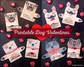 Dog Valentines Candy Huggers Printable Puppy Valentine cards with Pug, English Bulldog, Pitbulls, and Frenchie French Bulldog Candy Holders