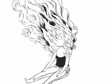 Hot - original drawing 11x14 fine art black and white painting - retro superheroine
