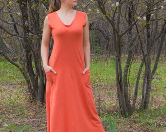 Hemp Maxi Passport Pocket Dress - Hemp and Organic Cotton Tank Dress - Many Colors to Choose From - Made to Order - Eco Fashion - Pockets