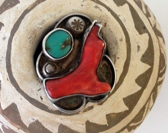 Vintage Navajo Ring Coral Branch Turquoise Natural | Sterling Silver 1950s Pawn | Ramon Platero Style Native American | Southwest | Size 6.5