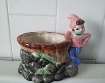 Vintage Pixie Elf  Planter Vase