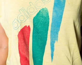 The Vintage Adidas Color Stripe Yellow 50/50 TShirt