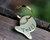 ID tag for cat or small dog - Fish shaped - Hand stamped and personalized