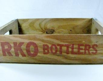VINTAGE RKO Bottlers CRATE  / Natural Wood / 1980s / Soda Pop Bottle Crate