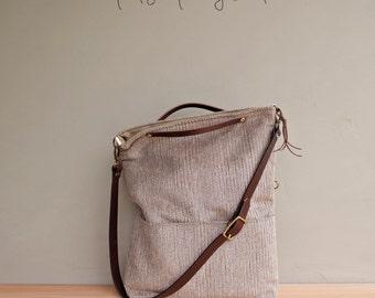 Convertible Herringbone Tote Bag in Light Umber, Brown Shoulder Bag, Custom Length Leather Strap, Crossbody, Plus Size Foldover Bag